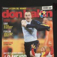 Coleccionismo deportivo: FÚTBOL DON BALÓN 1812 - ESPECIAL MUNDIAL ESPAÑA CAMPEÓN - XAVI - POSTER INIESTA - CAMACHO - URUGUAY. Lote 207216900