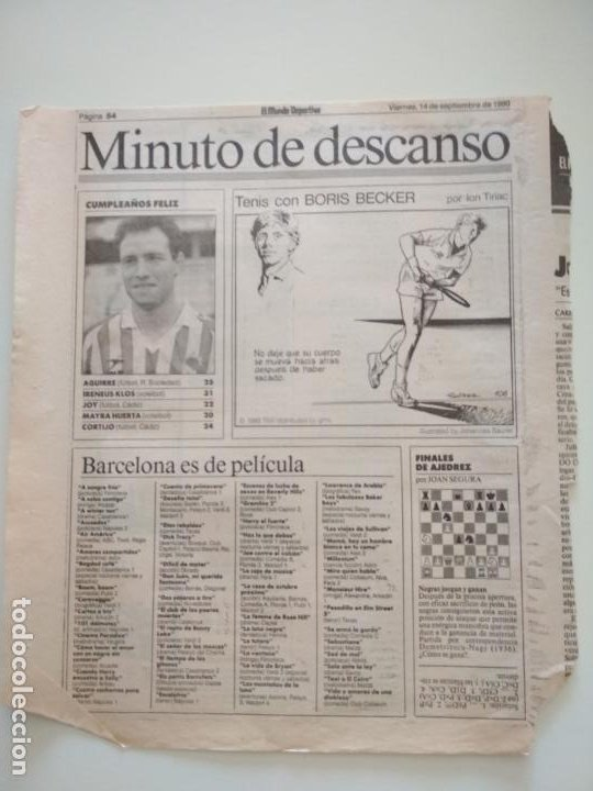 Coleccionismo deportivo: RECORTES DE LA SERIE TENIS CON BORIS BECKER POR ION TIRIAC DE MUNDO DEPORTIVO - Foto 3 - 207249422