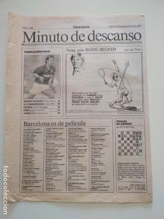 Coleccionismo deportivo: RECORTES DE LA SERIE TENIS CON BORIS BECKER POR ION TIRIAC DE MUNDO DEPORTIVO - Foto 9 - 207249422