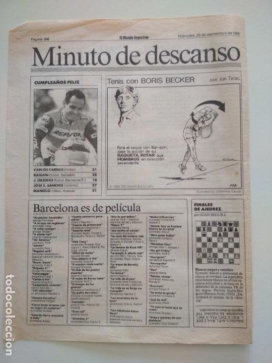 Coleccionismo deportivo: RECORTES DE LA SERIE TENIS CON BORIS BECKER POR ION TIRIAC DE MUNDO DEPORTIVO - Foto 10 - 207249422