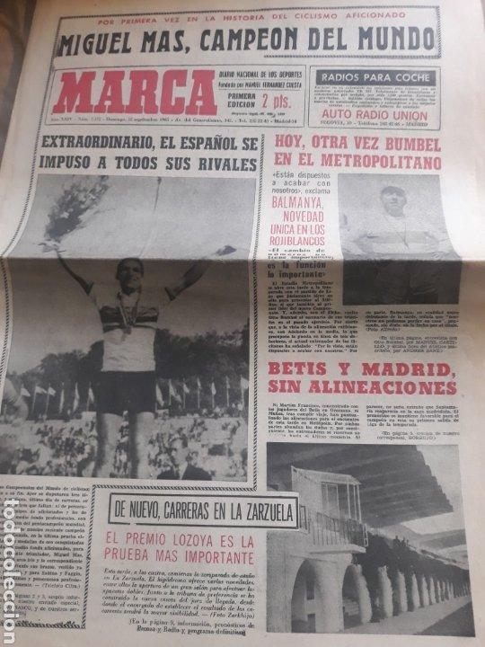 MARCA AÑO1965 .MIGUEL MAS CAMPEON DEL MUNDO - AT.MADRID - ELCHE .DEBUTA BALMANYA EN EL METROPOLITANO (Coleccionismo Deportivo - Revistas y Periódicos - Marca)