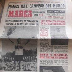 Coleccionismo deportivo: MARCA AÑO1965 .MIGUEL MAS CAMPEON DEL MUNDO - AT.MADRID - ELCHE .DEBUTA BALMANYA EN EL METROPOLITANO. Lote 207373631