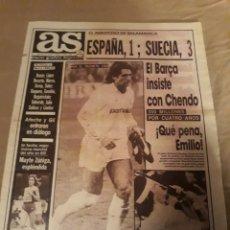 Coleccionismo deportivo: DIARIO AS JUNIO DE 1988 .FUTBOL AMISTOSO EN SALAMANCA .EN EL HELMANTICO ESPAÑA 1 SUECIA 3 - CHENDO. Lote 207412595