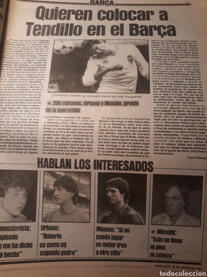 Coleccionismo deportivo: SPORT 28-3- 1984 MENOTTI RENOVARA ,TENDILLO, CLOS , AMARILLA , CLEMENTE, URBANO ,PERE CASACUBERTA, - Foto 2 - 207438107