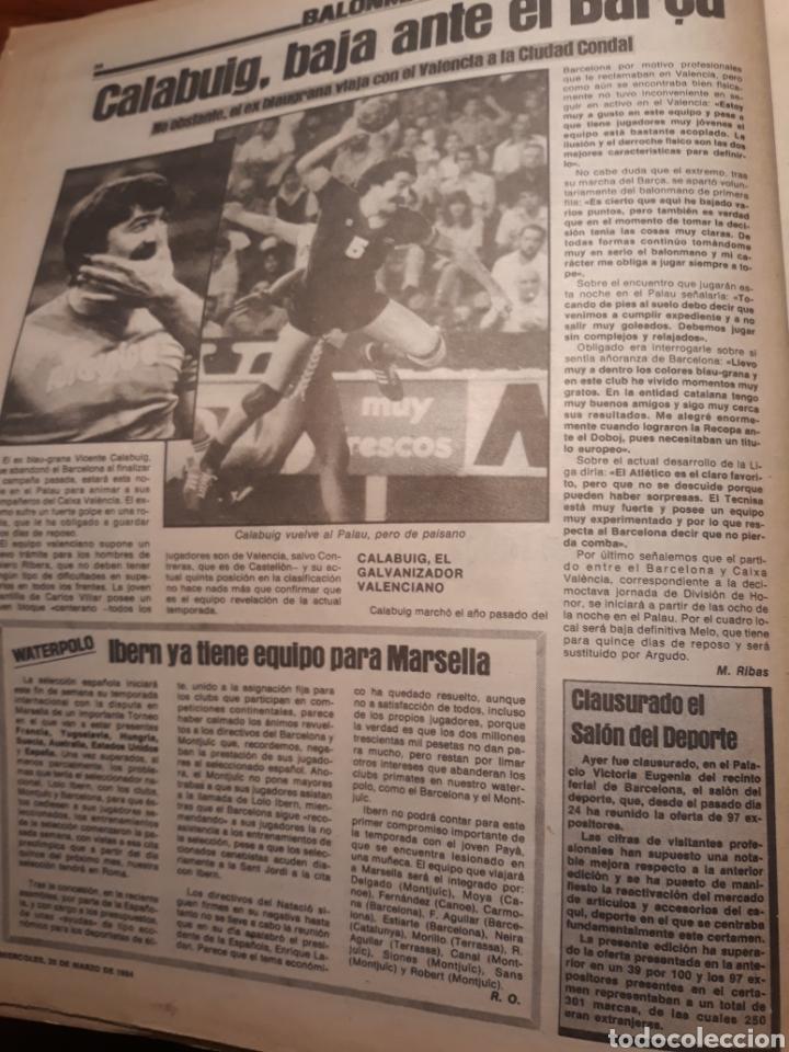 Coleccionismo deportivo: SPORT 28-3- 1984 MENOTTI RENOVARA ,TENDILLO, CLOS , AMARILLA , CLEMENTE, URBANO ,PERE CASACUBERTA, - Foto 5 - 207438107