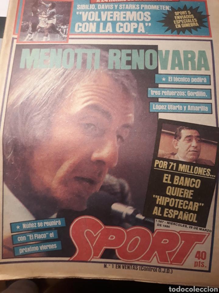 SPORT 28-3- 1984 MENOTTI RENOVARA ,TENDILLO, CLOS , AMARILLA , CLEMENTE, URBANO ,PERE CASACUBERTA, (Coleccionismo Deportivo - Revistas y Periódicos - Sport)