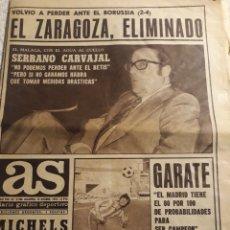 Coleccionismo deportivo: AS 12-12-1974 .ZARAGOZA 2 BORUSSIA 4. CHURRUCA , MICHELS , ARZAC ,GARATE ,RAMOS,SERRANO CARVAJAL. Lote 207450348