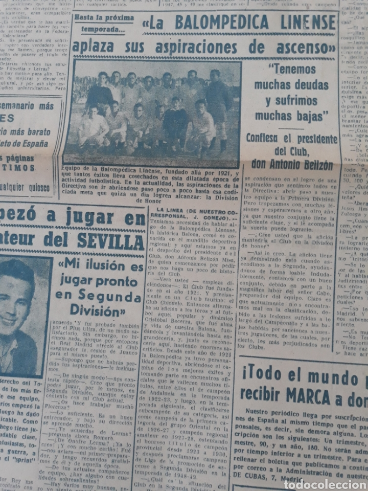 Coleccionismo deportivo: MARCA 17-2-1951 . ESPAÑA - SUIZA . AMISTOSO EN MADRID . BALOMPEDICA LINENSE APLAZA SU ASCENSO A 1°. - Foto 3 - 207500570