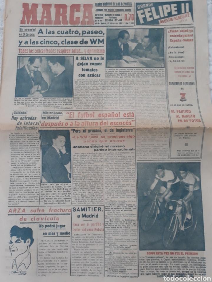 MARCA 17-2-1951 . ESPAÑA - SUIZA . AMISTOSO EN MADRID . BALOMPEDICA LINENSE APLAZA SU ASCENSO A 1°. (Coleccionismo Deportivo - Revistas y Periódicos - Marca)