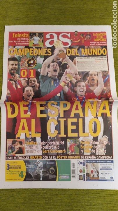 DIARIO AS ESPAÑA CAMPEONA DEL MUNDO SUDÁFRICA 2010. FALTAN PÁGINAS CENTRALES. (Coleccionismo Deportivo - Revistas y Periódicos - As)