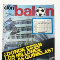 Coleccionismo deportivo: DON BALÓN PRIMER NÚMERO 1 AÑO 7 OCTUBRE 1975 PÓSTER CHOLO SOTIL FC BARCELONA. Lote 208929907
