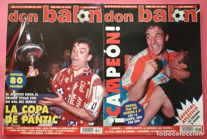 LOTE DON BALON 1070-1076 DOBLETE ATLETICO DE MADRID CAMPEON LIGA COPA DEL REY 95/96 ATLETI 1995/1996 (Coleccionismo Deportivo - Revistas y Periódicos - Don Balón)