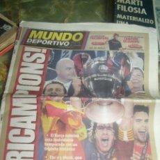 Coleccionismo deportivo: TRICAMPIONS BARÇA 2 MANCHESTER 0 MUNDO DEPORTIVO 28 MAYO 2009. Lote 210528817