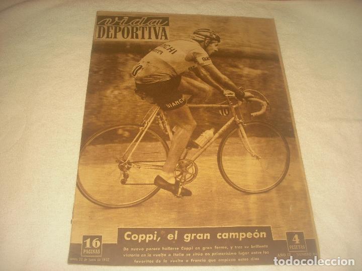 VIDA DEPORTIVA N. 351 . JUNIO 1952 . COPPI , EL GRAN CAMPEON DEL CICLISMO (Coleccionismo Deportivo - Revistas y Periódicos - Vida Deportiva)