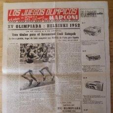 Coleccionismo deportivo: HOJA LOS JUEGOS OLÍMPICOS - XV OLIMPIADA HELSINKI 1952 - PUBLICIDAD MARCONI. Lote 211745155