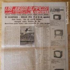 Coleccionismo deportivo: HOJA LOS JUEGOS OLÍMPICOS - XI OLIMPIADA BERLÍN 1936 - PUBLICIDAD MARCONI. Lote 211745261