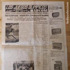Coleccionismo deportivo: HOJA LOS JUEGOS OLÍMPICOS - VIII OLIMPIADA PARÍS 1924 - PUBLICIDAD MARCONI. Lote 211745500