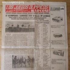 Coleccionismo deportivo: HOJA LOS JUEGOS OLÍMPICOS - IV OLIMPIADA LONDRES 1908 - PUBLICIDAD MARCONI. Lote 211746433