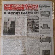 Coleccionismo deportivo: HOJA LOS JUEGOS OLÍMPICOS - III OLIMPIADA SAN LUIS 1904 - PUBLICIDAD MARCONI. Lote 211746486
