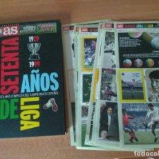 Coleccionismo deportivo: LIBRO SETENTA AÑOS DE LIGA Y 7 FICHAS ADESIVAS. Lote 213278420