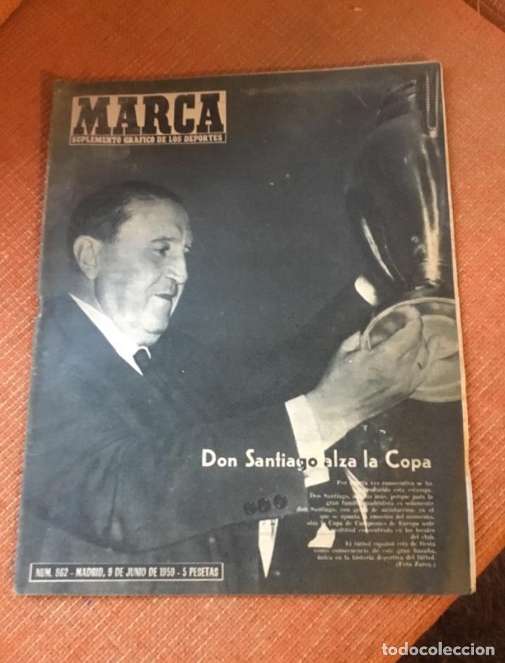 MARCA - Nº 862 - 9 JUNIO 1959 - D. SANTIAGO BERNABEU ALZA LA CUARTA COPA DE EUROPA CONSECUTIVA (Coleccionismo Deportivo - Revistas y Periódicos - Marca)