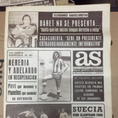 Coleccionismo deportivo: AS (28-11-1973) HEREDIA ADELARDO ATLETICO MADRID SUECIA MUNDIAL BARET FAMILIA SANCHEZ INIES TENIS. Lote 218115797