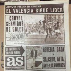 Coleccionismo deportivo: AS (5-11-1973) VALENCIA LIDER DOPICO MENETREY TOMAS GARCIA JORNADA MURCIA BARCELONA. Lote 218118118