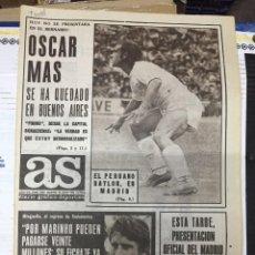 Collezionismo sportivo: AS (29-7-1974) OSCAR MAS REAL MADRID MIGUEL ANGEL PLANTILLAS RAIMUNDO SAPORTA COS BARCELONA. Lote 218780168