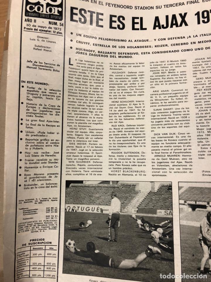 Coleccionismo deportivo: AS COLOR N° 54 (1972). INCLUYE POSTER SELECCIÓN ESPAÑOLA, CRUYFF, URTAIN, ÁNGEL NIETO - Foto 2 - 219294943