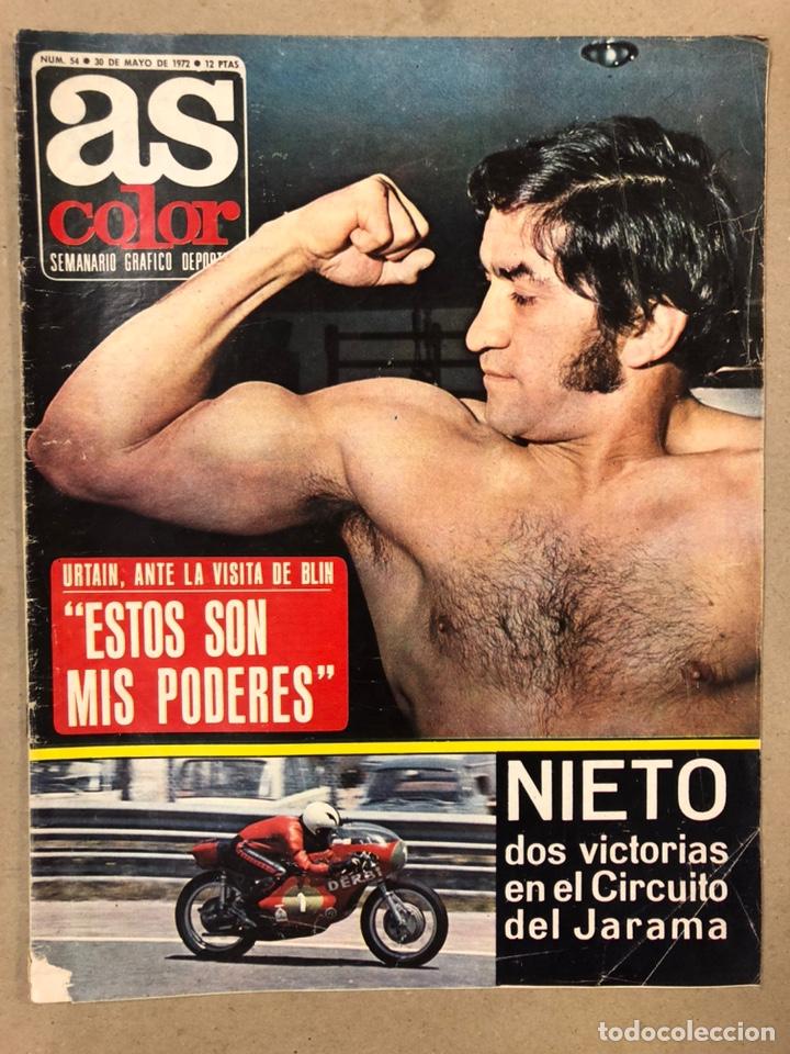 AS COLOR N° 54 (1972). INCLUYE POSTER SELECCIÓN ESPAÑOLA, CRUYFF, URTAIN, ÁNGEL NIETO (Coleccionismo Deportivo - Revistas y Periódicos - As)