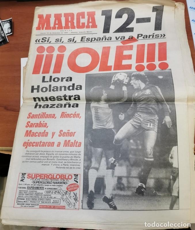 DIARIO MARCA ESPAÑA 12-1 MALTA CLASIFICACION EURO 84 HISTORICO DICIEMBRE 1983 PARIS EUROCOPA 1984 (Coleccionismo Deportivo - Revistas y Periódicos - Marca)