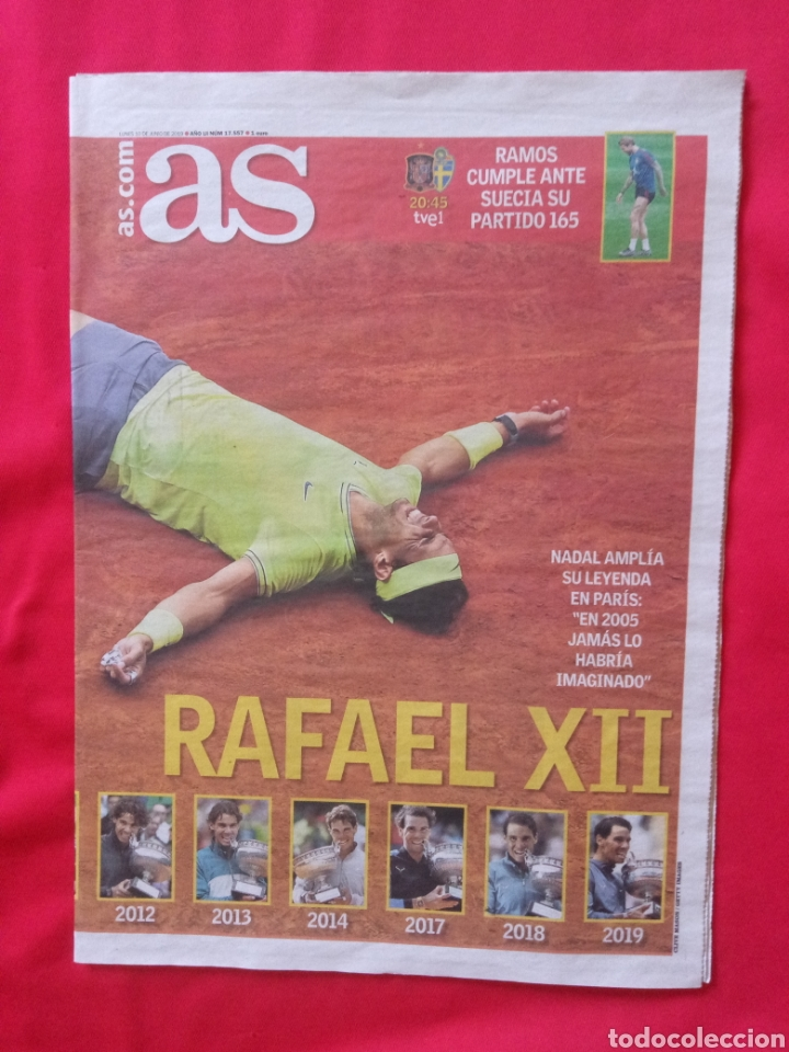Coleccionismo deportivo: AS RAFA NADAL TITULO 12 ROLAND GARROS 2019 - Foto 2 - 220812588