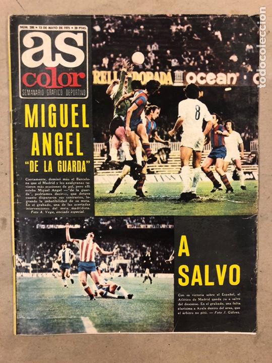 AS COLOR N° 208 (1975). BARCELONA VS REAL MADRID, FÚTBOL FEMENINO, COLLAR, MAGUREGUI, SANTI,... (Coleccionismo Deportivo - Revistas y Periódicos - As)