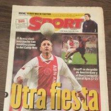 Coleccionismo deportivo: CRUYFF. DIARIO SPORT. 1999. PARTIDO HOMENAJE AJAX, VER FOTOS.. Lote 221715950