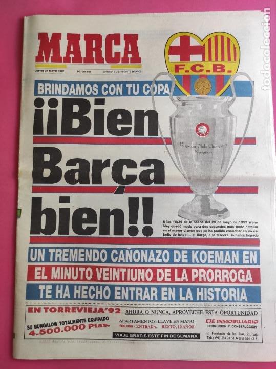 DIARIO MARCA BARÇA CAMPEON COPA DE EUROPA 1991/1992 - FC BARCELONA 91/92 - WEMBLEY CHAMPIONS KOEMAN (Coleccionismo Deportivo - Revistas y Periódicos - Marca)