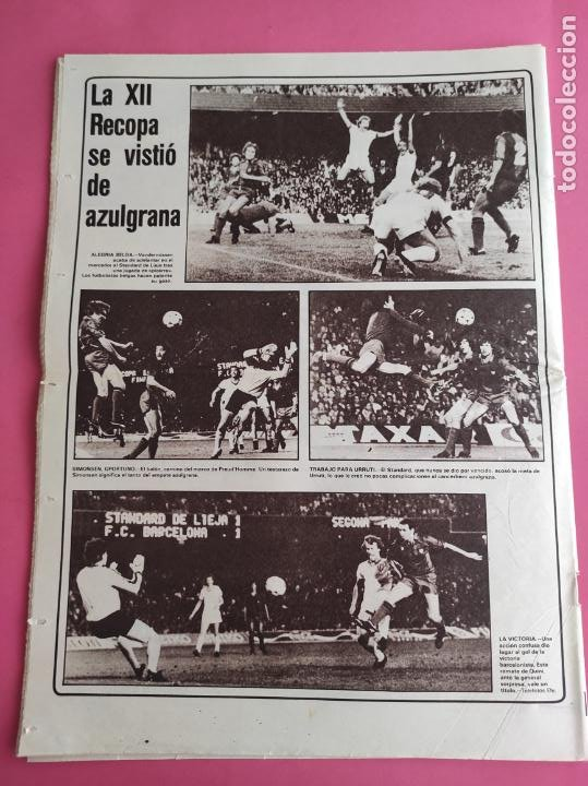 Coleccionismo deportivo: DIARIO AS BARÇA CAMPEON RECOPA DE EUROPA 1981/1982 FC BARCELONA 81/82 QUINI - STANDARD LIEJA - Foto 2 - 222008362
