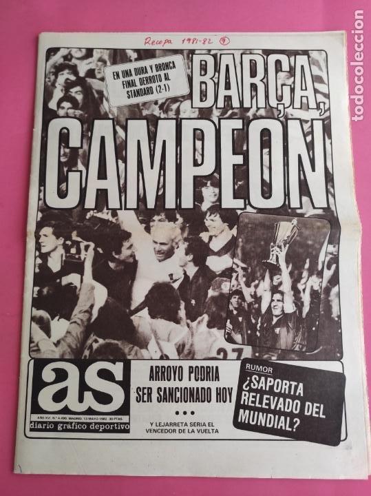 DIARIO AS BARÇA CAMPEON RECOPA DE EUROPA 1981/1982 FC BARCELONA 81/82 QUINI - STANDARD LIEJA (Coleccionismo Deportivo - Revistas y Periódicos - As)
