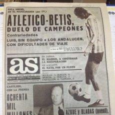 Coleccionismo deportivo: AS (18-9-1977) HOY ATLETICO MADRID BETIS OLSEN LUIS PEREIRA SAN ANDRES CLUB SIERO NINO BOXEO. Lote 222478998