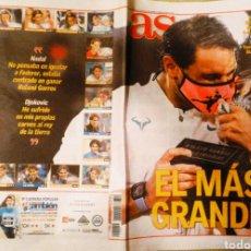 Coleccionismo deportivo: PERIÓDICO DIARIO AS NADAL CAMPEÓN ROLAND GARROS 2020. Lote 222479287