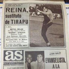 Coleccionismo deportivo: AS (14-9-1977) EVANGELISTA REINA TIRAPU IBAÑEZ STEFAN KOVACS BALONMANO ANAITASUNA RENE MOL CRUYFF. Lote 222479502