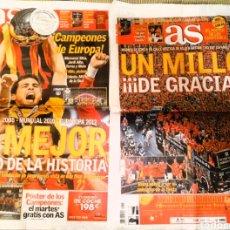 Coleccionismo deportivo: DIARIO AS LOTE DOS PERIÓDICOS ESPAÑA CAMPEONA DE EUROPA 2012 Y CELEBRACIÓN. Lote 222480921