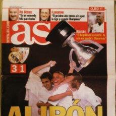 Coleccionismo deportivo: PERIÓDICO DIARIO AS REAL MADRID CAMPEÓN LIGA 2003. Lote 222481348