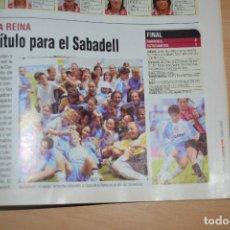 Coleccionismo deportivo: RECORTE DE DON BALON 2002-03 CE SABADELL FEMENINO CAMPEÓN DE COPA. Lote 222516313