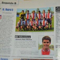 Coleccionismo deportivo: RECORTE DE DON BALON 2000-01.FOTO Y LISTADO DE JUGADORES DEL AT MADRID B. Lote 222548378