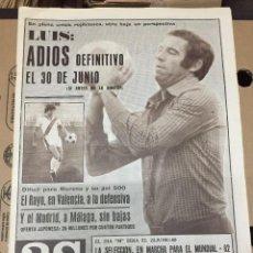 Collectionnisme sportif: AS (15-12-1979) LUIS ARAGONES ATLETICO MADRID BADIOLA PUSKAS LUIS ARNAIZ RUPEREZ GUZMAN REAL MADRID. Lote 222584548