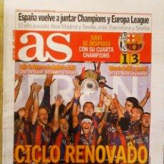 Coleccionismo deportivo: PERIÓDICO DIARIO AS BARCELONA CAMPEÓN DE EUROPA CHAMPIONS LEAGUE SU QUINTA. Lote 222624092