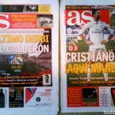 Coleccionismo deportivo: LOTE DOS PERIÓDICOS DIARIO AS ÚLTIMO DERBI EN EL CALDERÓN REAL MADRID ATLÉTICO. Lote 222625016