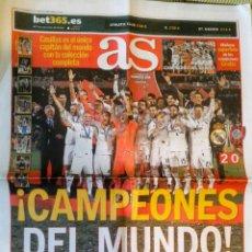 Coleccionismo deportivo: PERIÓDICO DIARIO AS REAL MADRID CAMPEÓN MUNDIAL DE PLUS 2015 MUNDIALITO. Lote 222626586