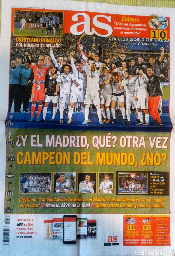 PERIÓDICO DIARIO AS REAL MADRID CAMPEÓN MUNDIAL CLUBES 2017 MUNDIALITO (Coleccionismo Deportivo - Revistas y Periódicos - As)