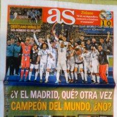 Coleccionismo deportivo: PERIÓDICO DIARIO AS REAL MADRID CAMPEÓN MUNDIAL CLUBES 2017 MUNDIALITO. Lote 222627057